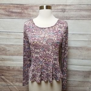 LC Lauren Conrad knit floral peplum long sleeve